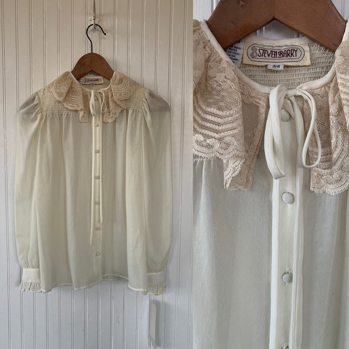 617056e1eabe7 NWT 80s Vintage Ivory Off White Puff Sleeve Lace Ruffle Sheer Shirt Size  Medium Button Down Shirt 70s Deadstock Boho M S Lace Small Top