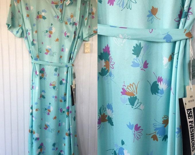Vintage NWT 70s Pastel Aqua Sheer Floral Dress Size Large L LG XL Fits 10 12 14 Deadstock 1979 80s Spring Summer Festival