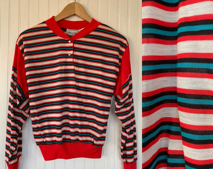 Vintage 70s 80s XS Red White Black Teal Snap up Striped Long Sleeve Top Shirt XS/S Size Small deadstock Sportswear Comfy crew neck