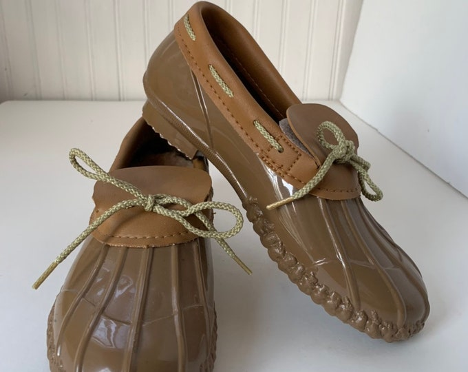 Vintage 80s Deadstock Size 6 Rain Shoes Beige Brown Rubber Duck Boots Mint New Condition Spring Shoes NOS Footwear Boat Shoe