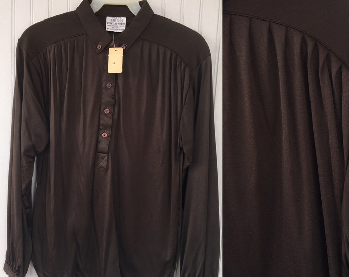 Vintage Medium Brown Nylon Blouse Shirt Button Down Top Size Small / Med Stretch Deadstock NWT Spring Summer Festival 70s 80s S/M 36