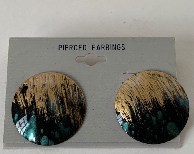 Vintage 90s Deadstock Stud Metal  Earrings Pair Circle Gold Black Teal painted Design Unique NOS Unworn 1990s Funky Mod Art Deco