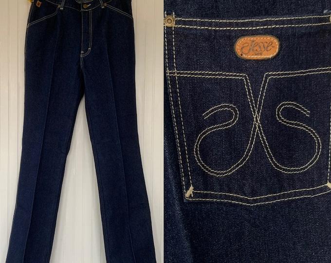 "NWT Vintage 80s Deadstock Jesse Jeans High Waisted Dark Denim Blue Jeans 36 waist 12"" Rise Pockets Original Tags Western Mens"