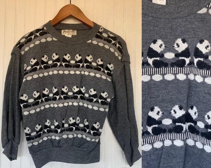 NWT 80s Vintage Pandas Thermal Long Sleeve Top Size Medium Grey Shirt 70s Deadstock M S/M Small Panda Waffle Knit