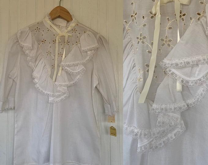 Vintage 70s Medium White Puff Sleeve Ruffle Shirt M M/L 36 Blouse Eyelet Deadstock 80s Boho Tie Med Summer spring cottage core