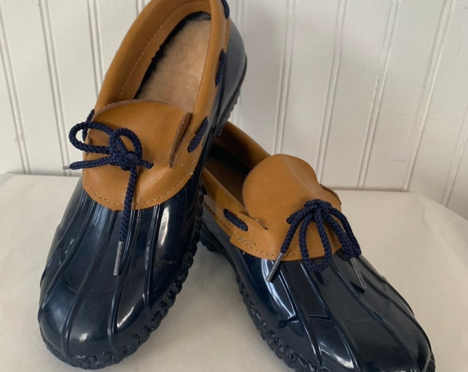 Vintage 80s Deadstock Size 7 Rain Shoes Blue Brown Rubber Duck Boots Mint New Condition Spring Shoes NOS Footwear Boat Shoe Navy