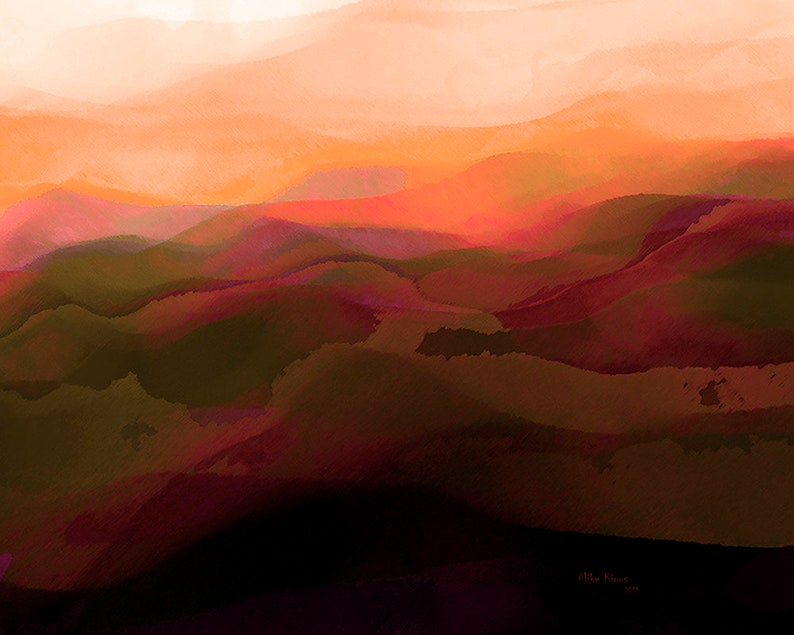 Abstract Landscape Art Print on Paper image 0
