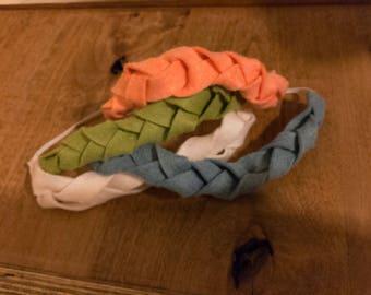 Peach orange braided headband, beaided felt headband, felt headband, peach orange headband
