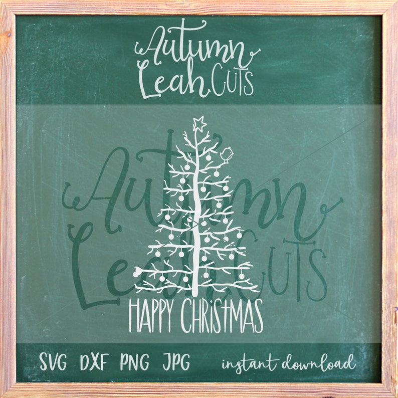 Bare Christmas Tree Clipart.Hand Drawn Happy Christmas Tree Svg Png Jpeg Dxf Cut File For Silhouette Cricut Instant Download Clipart Little Bird Svg