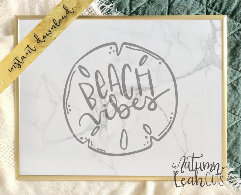 Beach Vibes Sand Dollar -- SVG, PNG, Jpeg, DXF cut file for Silhouette,  Cricut -- Instant Download Beach Summer Svg - Hand Drawn Art
