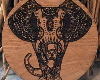 Gifts for Dad, Elephant, Coaster, Africa, Round, Wood, House warming gifts, gift,