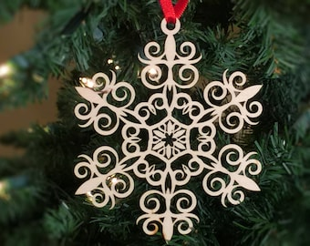 Gifts for Dad, Snowflake Christmas tree ornament, Decoration, Laser Cut, Birch, Wood Mothers Day