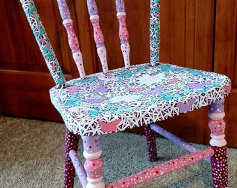 Shabby Chic Hand Painted Child's Chair