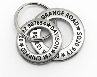 Funky design pet dog ID disc tag. Stainless steel washer style. Engraved Personalised