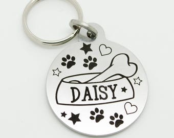 Fully customised stainless steel laser engraved dog ID tag. Personalised, highest quality 32mm with Free UK Delivery