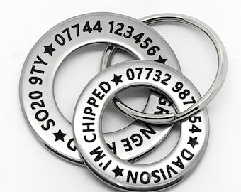 Funky design Large dog ID disc tag. Stainless steel washer style. Engraved Personalised