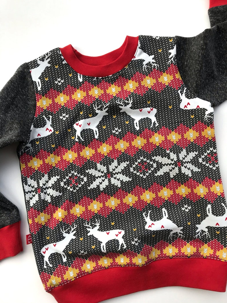 knit cotton baby hoodie baby Christmas outfit toddler sweater gift for boy Christmas sweatshirt boy sweatshirt deer toddler sweatshirt