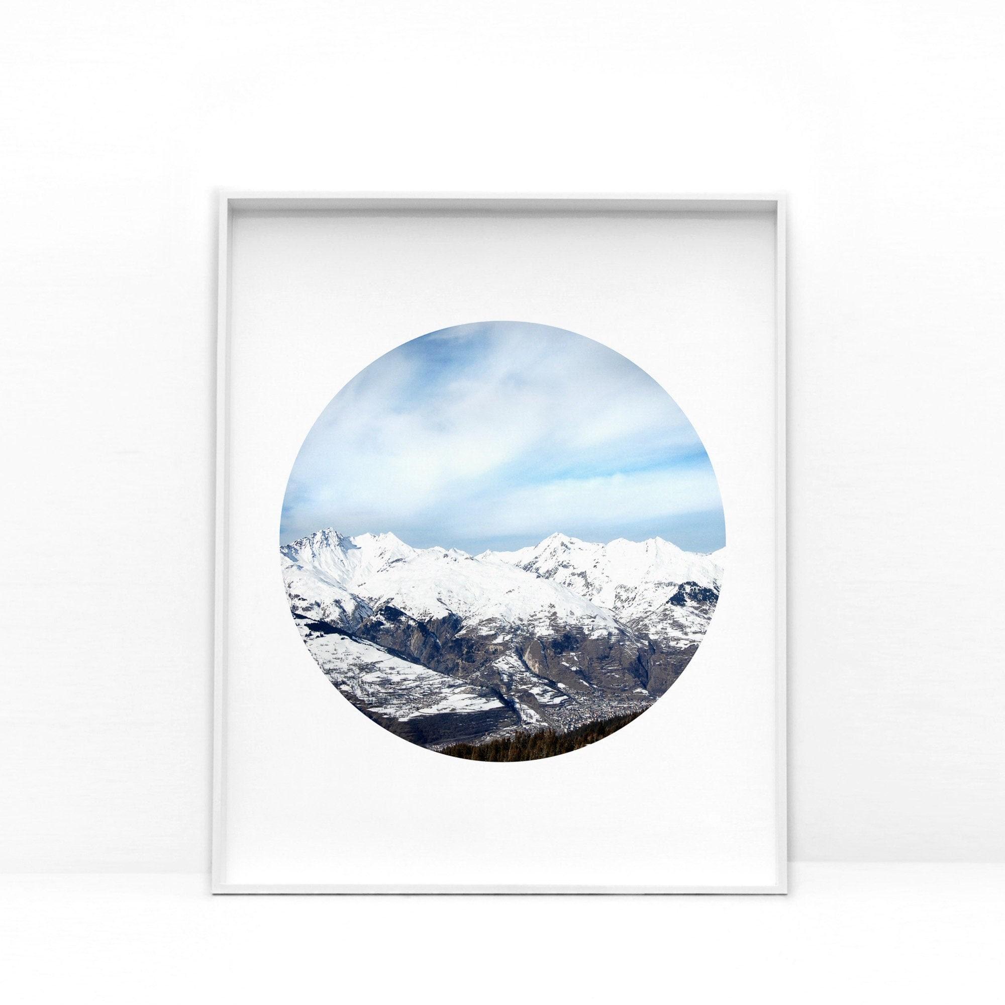 Minimalist Mountain Landscape Art Print, Simple Scandinavian Nature Poster  Print, Blue And White Mountain Wall Art Living Room Wall Decor