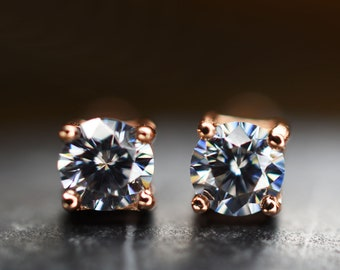 a09cd7c4f Gray Diamond earring studs, 3mm Moissanite grey diamonds set in 925 silver  with 18K Rose Gold overlay