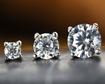 c0b705511 Diamond earring studs, 4mm, 3mm or 2mm Moissanite earrings set in solid 925  silver