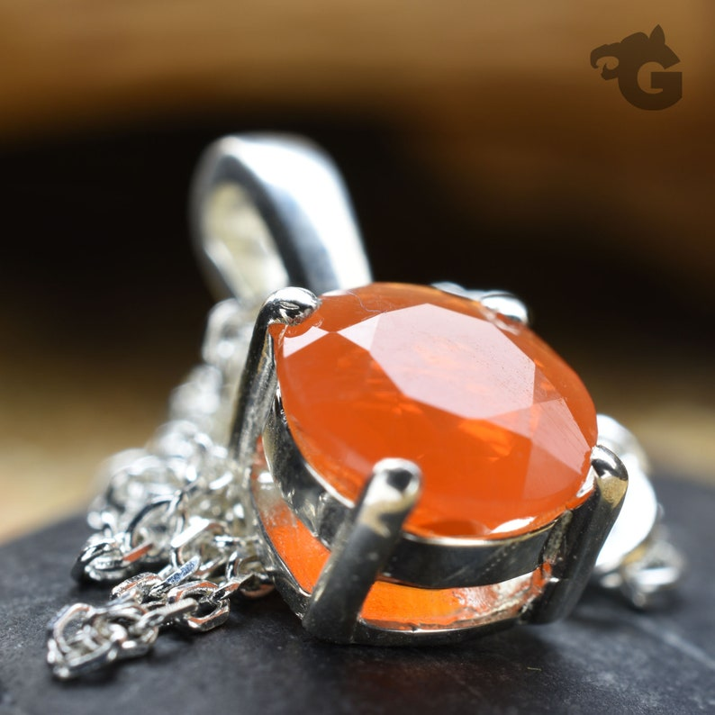 Boho Fire Opal necklace natural orange Mexican Fire Opal 925 sterling silver necklace with chain extension and a clasp Glermes