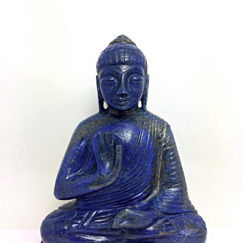 Hand Carved Natural Lapis Lazuli Carving Meditation Buddha gemstone article yoga worship prayer statue home decor figurine