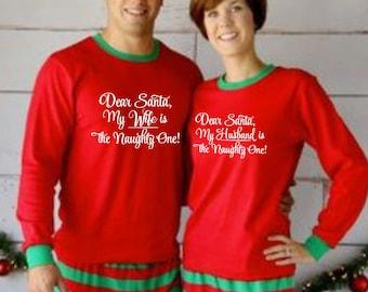 f8785dd02e Personalised Dear Santa Husband Wife Matching Christmas Pyjamas
