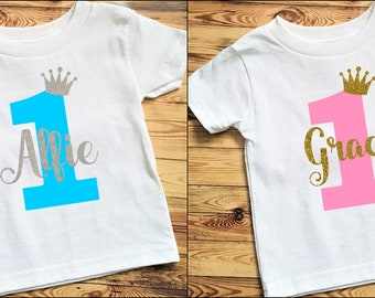 Personalised 1st Birthday T Shirt Glitter One Name Baby Girl Photoshoot Photo Prop Cake Smash Tee First Outfit