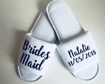 SALE 5 Pairs of Personalised Wedding Slippers, Bridesmaid Slippers, Bride Slippers, Flower Girl, Bridesmaid Gift