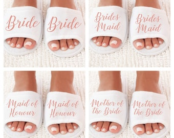 Personalised Wedding Slippers, Bridesmaid Slippers, Bride Slippers, Bridal Party Slippers, Flower Girl Slippers, Bridesmaid Gift