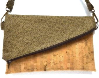 Foldover Shoulder Bag, Removable Strap, Foldover Cork Clutch, Zippered Purse, Brown and Natural Cork Color