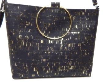 Handbag with Gold Ring Handles, Adjustable, Removable Shoulder Straps, Black Natural Cork, Eco Friendly