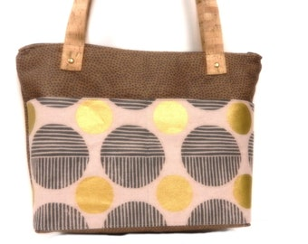 Tote with Cork Straps, Front and Inside pockets, zipper Closure, Brown, Tan, Gold