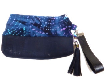 Cork and Batik Fabric Wristlet Pouch Clutch with Tassel