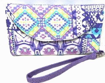 Wristlet Purse, Wristlet Clutch, Quilted Purse, Southwestern Fabric, Aztec Tribal Print, Purple Colors, Clutch Wallet,
