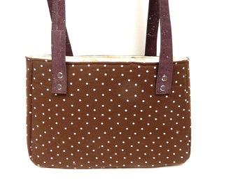 Shoulder Bag Handbag, Recessed Zipper, Brown and white Polka Dots with Brown Cork Straps