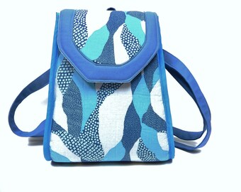 Cotton Fabric Backpack, Rucksack, Blue and Gray, Adjustable Strap, Small to Medium Size
