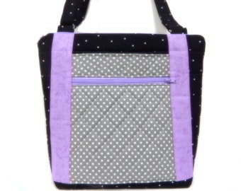 Quilted Shoulder Bag, Crossbody Fabric Purse, Zippered Pocket Purse, Multi Pockets, Purple, Gray, Black