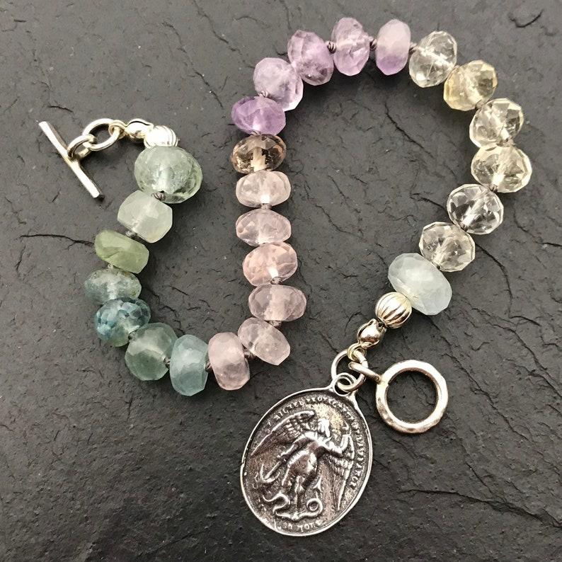 Saint Michael The Archangel Multi Gemstone Bracelet Ametrine Rose Quartz Aquamarine Communion Gift Catholic Jewelry Sterling Silver