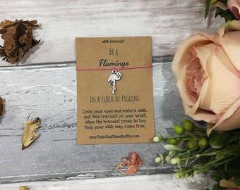 Flamingo Wish Bracelet, Flamingo Jewellery, Flamingo Gift, Friendship Bracelet, Cord Bracelet, Flamingo Charm, Charm Bracelet, Friend Gift