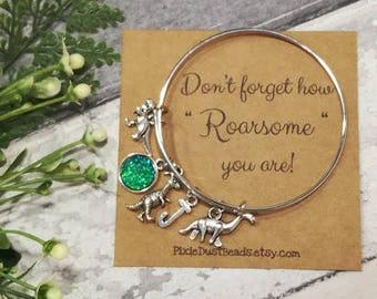 Dinosaur Bracelet, Dinosaur Bangle, Dinosaur Jewellery, Jurassic Charm Bracelet, Dinosaour Charm, Adustable Bangle, Dinosaur Gift, Dino Gift