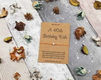 40th Birthday Wish Card Happy Bracelet Wishes PartyBirthday Gift