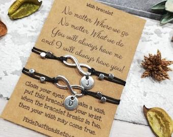 No Matter Where Bracelet, Friendship Bracelet, Best Friend Bracelet, BFF bracelet, Sister Bracelet, Travel Card, Friendship Card, Travel