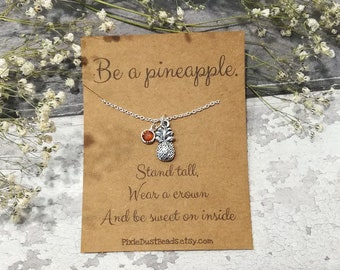 Pineapple Necklace, Pineapple Jewelry, Pineapple Charm Necklace, Fruit Necklace, Pineapple Gift, Tropical Necklace, Silver Pineapple, BFF