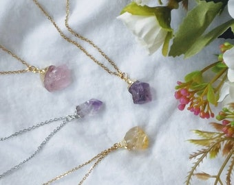 Dipped Gold Raw crystal Necklace Gold Dipped Amethyst Citrine Necklace Rose Gold Necklace