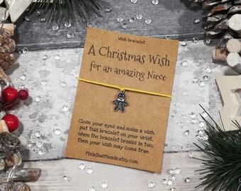 Niece Christmas Wish Bracelet, A Christmas Wish for a special Niece, Christmas gift for Niece, Niece wish bracelet , Xmas Gift, Niece Gift