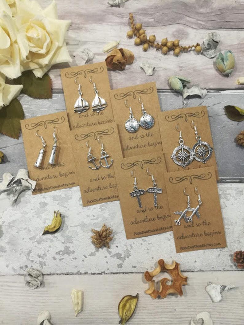 Travel Earrings Travel Jewelry Travel Gift Globe Earrings image 0