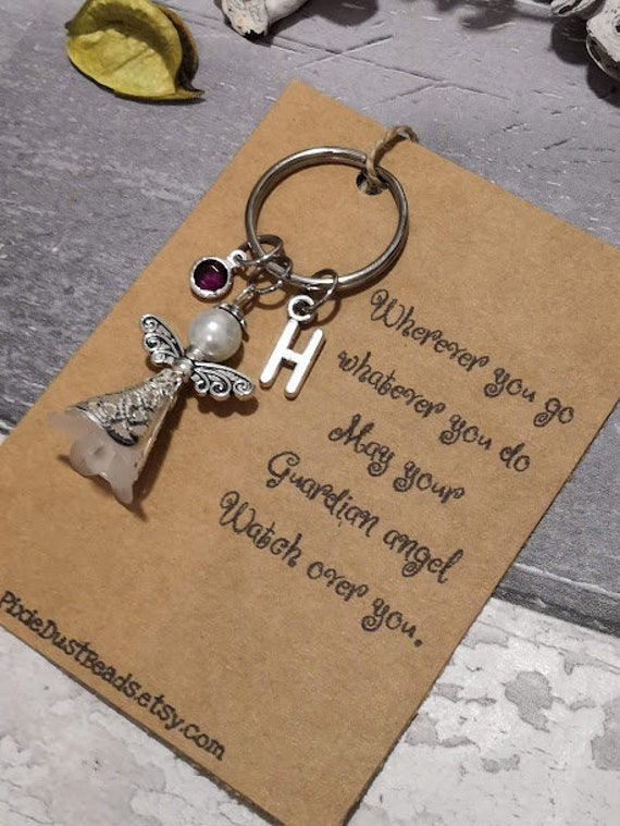 Personalised,Initial Keychain Angel Xmas Gift Guardian Angel Diffuser Keyring