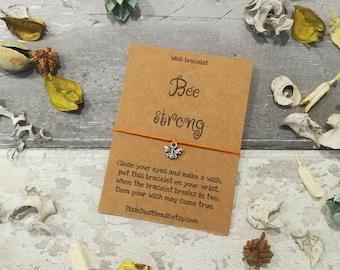 Bee Strong, Bee Wish Bracelet, Strength Wish Bracelet, Bumble Bee, Bee Charm Bracelet, Bee Jewelry, Bee Jewellery, Bee Gift, Strength Gift
