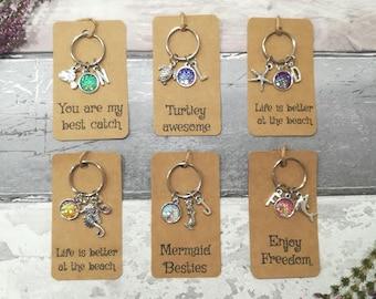 Sea Life Keyring, Mermaid Keyring, Starfish Keyring, Turtle Keyring, Fish Keyring, Dolphin Keyring, Seahorse Keyring, Ocean Jewellery